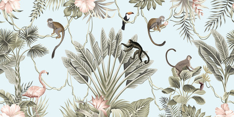 Hawaiian vintage botanical palm tree,banana tree, palm leaves, hibiscus flower, liana, monkey animal summer paradise floral seamless border blue background.Exotic jungle wallpaper.  G