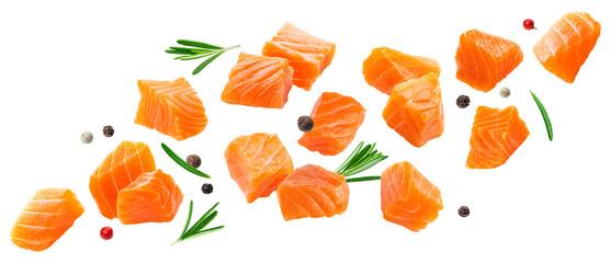 Falling salmon slices isolated on white background