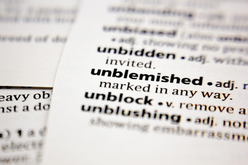 Word or phrase unblemished in a dictionary.