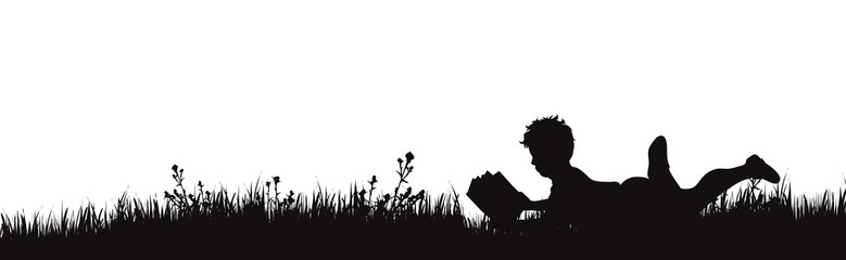 Vector silhouette of boy who read book on the garden on white background. Symbol of boy rest in the garss.