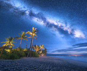 Milky Way over the sandy beach with palm trees and sunbeds and umbrellas at night in summer. Landscape with sea coast, beautiful blue starry sky, galaxy and palms. Travel in Zanzibar, Africa. Space