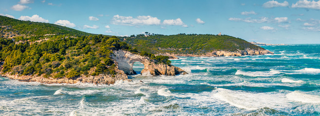 Stormy wether in Gargano National Park, Torre di San Felice location, Apulia region, Italy, Europe. Panoramic morning seascape of Adriatic sea. Beauty of nature concept background.