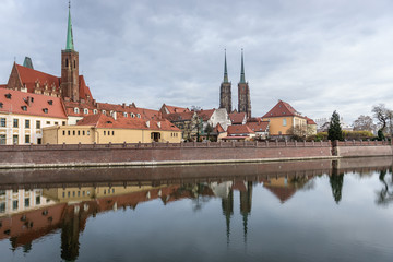 Collegiate Church and St John the Baptist Cathderal located in Ostrow Tumski district - historic part of Wroclaw city in Poland