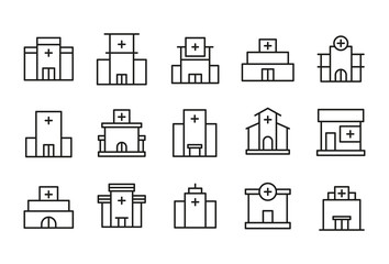 Simple set of hospital modern thin line icons.
