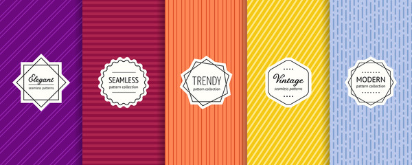 Striped seamless patterns set. Vector collection of colorful geometric background swatches with modern labels. Minimalist texture with lines, stripes. Purple, maroon, orange, yellow and blue design