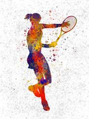 Woman practicing tennis in watercolor 04