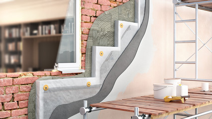 Exterior brickwall thermal insulation with scaffolding and interior view through window, 3d illustration