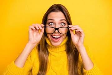 Close up photo of amazed funny crazy girl student touch specs get degree university autumn graduation scream wow omg wear stylish knitted collar jumper isolated over shine color background