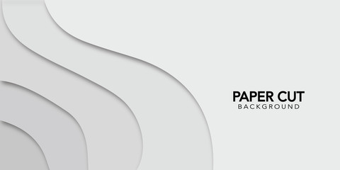 White abstract background  in paper cut style. Vector design banner.