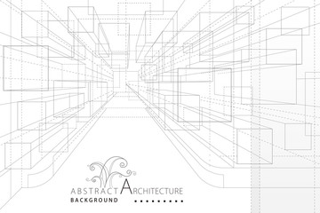 Perspective line drawing abstract background, Interior architecture cabinet wardrobe structure design.