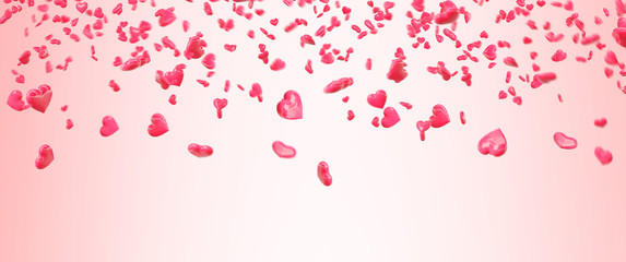 Red falling hearts Valentine day background