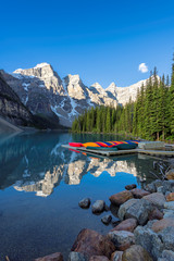 Beautiful Moraine Lake at sunrise in Rocky Mountains, Banff National Park, Canada.