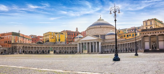 Daylight view of San Francesco di Paola church located at Piazza del Plebiscito in Naples, Italy.