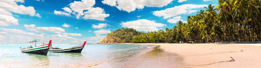 Ngapali Beach panorama in Myanmar