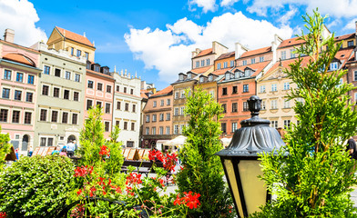 Colorful houses in the old town in Warsaw at the castle square.
