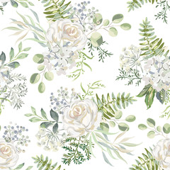 White rose, hydrangea flowers with green leaves bouquets background. Floral illustration. Vector seamless pattern. Botanical design. Nature summer plants. Romantic wedding