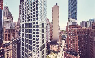 Retro color toned view of Manhattan architecture, New York City, USA.