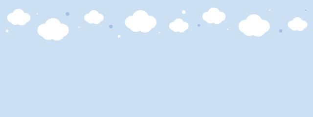 Cute white cloud on pastel blue sky upper border seamless pattern.
