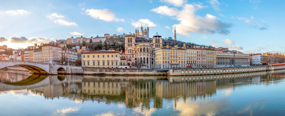 Cathedral Saint Jean and Basilica Notre-Dame de Fourviere, iconic symbols of Lyon, Rhone, France