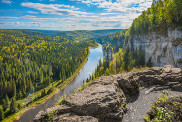 Beautiful panoramic view of the river Usva, Perm Krai, and on a rock the devil's finger in the summer..