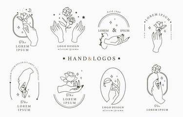 Beauty occult logo collection with hand, rose,crystal,moon,star,heart.Vector illustration for icon,logo,sticker,printable and tattoo