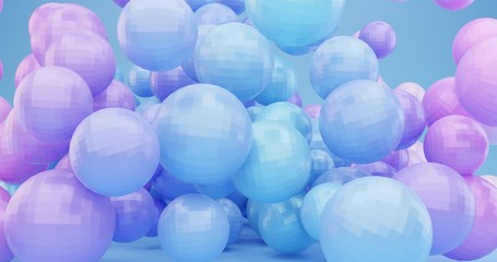 Abstract background with dynamic 3d spheres. Plastic pink blue and violet bubbles. Digital illustration of glossy balls. Bouncing particles. Modern trendy banner or poster design