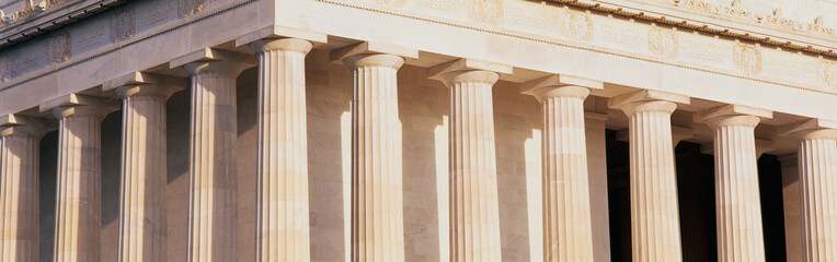 These are a close up of the columns of the Lincoln Memorial.