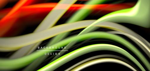Abstract silk smooth lines on black, multicolored liquid fluid rainbow style waves on black