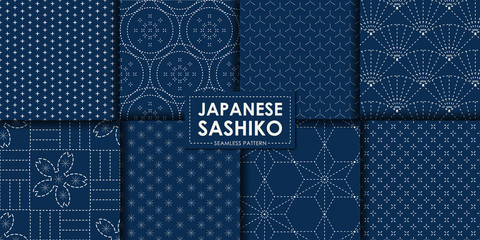 Japanese sashiko seamless pattern vector collection, Decorative wallpaper.