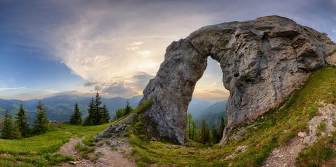 Rock Window in mountain landscape