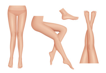 Legs realistic. Beauty woman legs body parts clean healthy vector set. Foots female parts body, lady attractive nude illustration