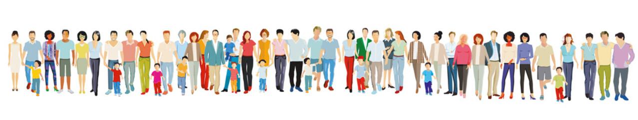Große freundliche Menschengruppe stehen zusammen