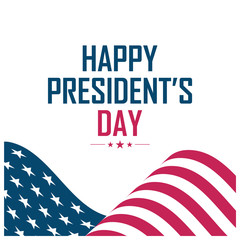 United States President's Day greeting card with waving USA national flag. Vector illustration.