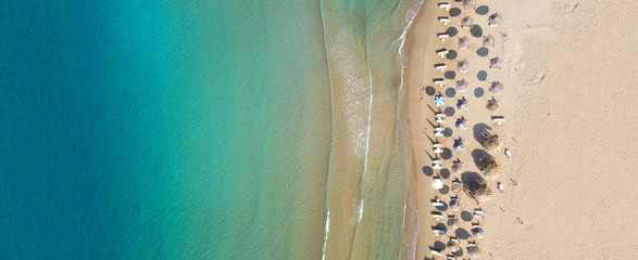 Aerial drone ultra wide top down photo of famous natural preserve beach of Gerakas, Zakynthos island, Ionian, Greece