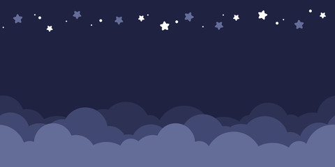 Seamless border of dark blue night sky. Flat vector illustration.