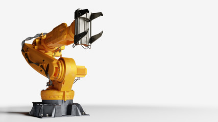 Industrial robotic arm isolated on white. Modern heavy industry,