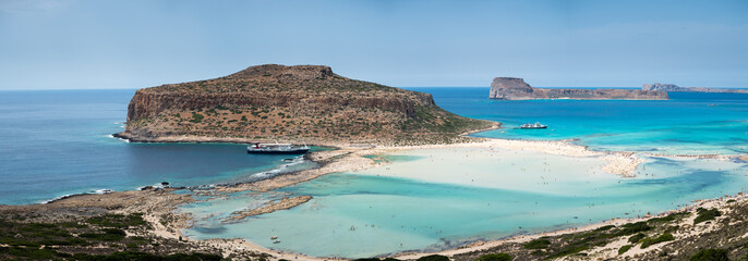 A day on the cruise ship to balos lagoon and Gramvousa island setting sail fron chania on the greek island of crete