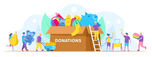Donation, charity concept vector illustration, people collect different things in huge donation box. Activists volunteers and men, women carrying food, books, toys and money.