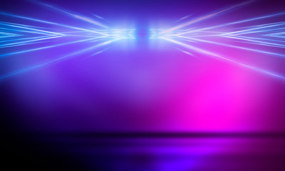 Ultraviolet abstract light. Light element, light line. Violet and pink gradient. Modern background, neon light. Empty stage, spotlights, neon. Abstract futuristic neon background.