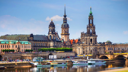 Scenic summer view of the Old Town architecture with Elbe river embankment in Dresden, Saxony, Germany