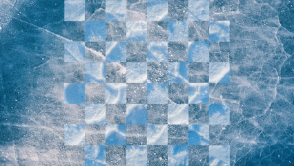 abstract winter background, chess Board on the ice