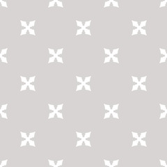 Simple minimalist geometric floral seamless pattern. Gray and white ornament