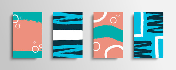 Set of covers with color brush strokes. Collection of artistic creative cards with hand drawn shapes. Vector illustration.