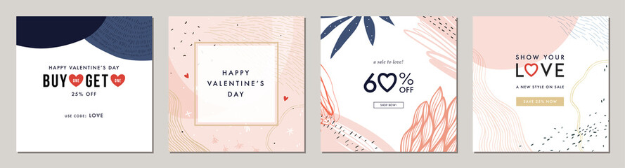 Happy Valentine's Day greeting cards. Trendy abstract square art templates. Suitable for social media posts, mobile apps, banners design and web/internet ads.