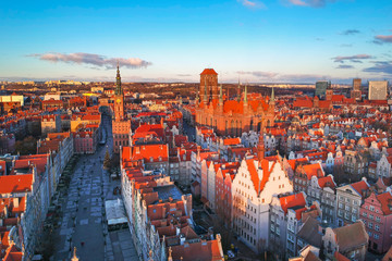 Aerial scenery of the old town in Gdansk at sunrise, Poland.
