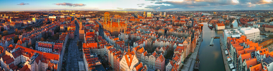 Aerial panorama of the old town in Gdansk at sunrise, Poland.