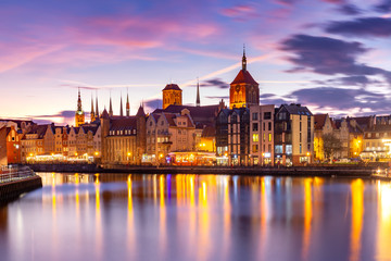 Old Town of Gdansk, Dlugie Pobrzeze, Bazylika Mariacka or St Mary Church, City hall and Motlawa River at sunset, Poland