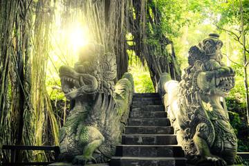 Barong Lion bridge at Monkey Forest. Bali, Indonesia