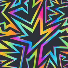 Colored stars geometric seamless pattern.