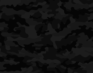 Black camouflage seamless vector pattern.
